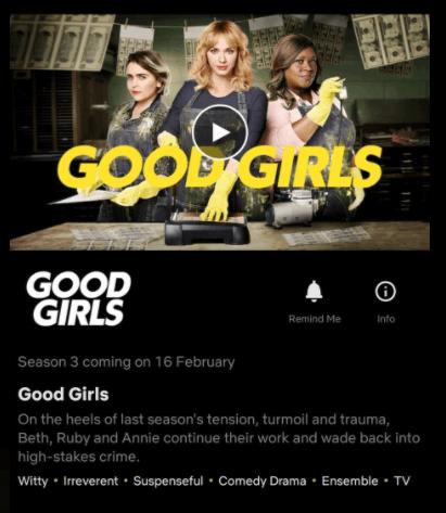 date showing on good girls season 3